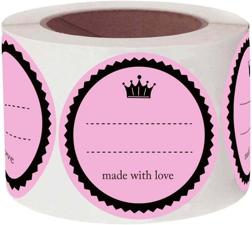 2 Inch Round Canning Jar Stickers,Self Adhesive Canning Supplies Stickers Labels,Homemade Food Storage Jam Labels for Mason Jar/Canning Lids (500 Pcs Per Roll)