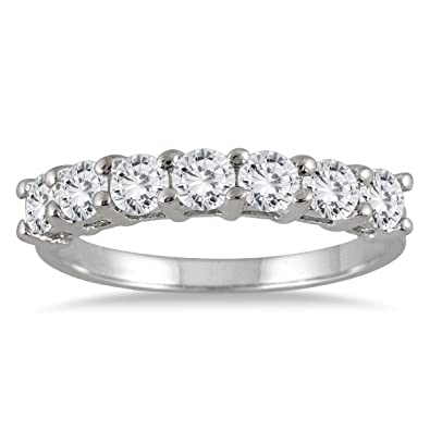 b09cd6124e76b AGS Certified 1 Carat TW Seven Stone Diamond Wedding Band in 14K White Gold  (KL Color, I2-I3 Clarity)