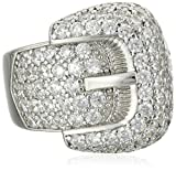 Charles Winston, Sterling Silver, Cubic Zirconia Award Winning Buckle Ring, 2.70 ct. tw.