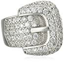 Charles Winston Sterling Silver Cubic Zirconia Award Winning Buckle Ring