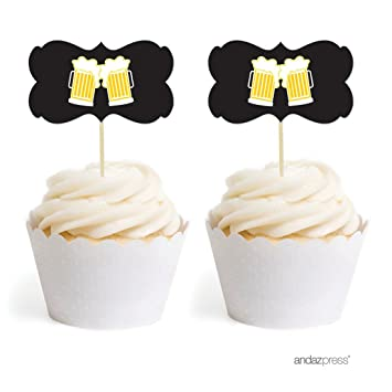 Andaz Press Birthday Cupcake Toppers DIY Party Favors Kit Beer Mugs Cheers Double