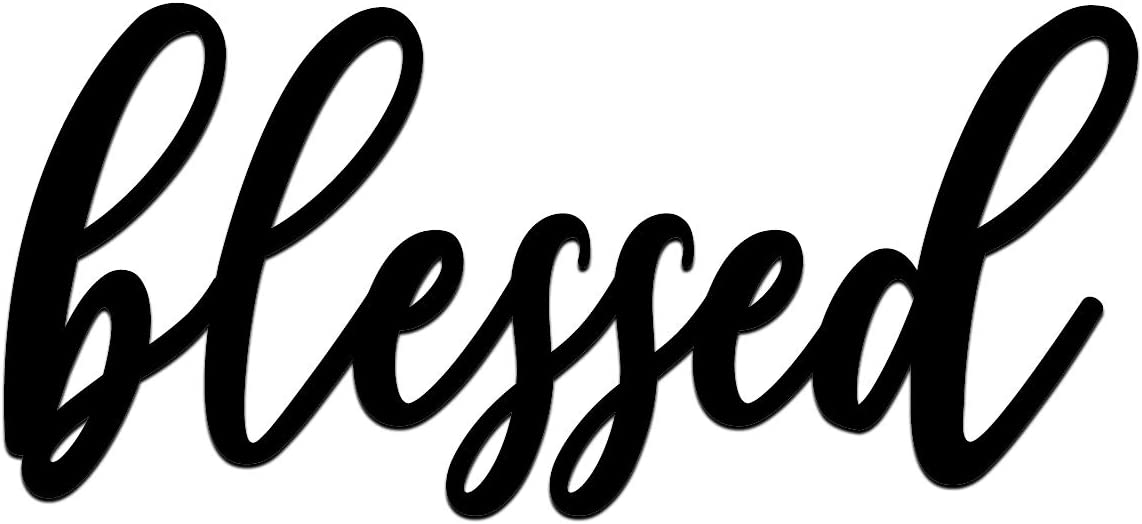 Home Metal Cutout-Blessed Wall Sign-3D Word Art Home Accent Decor,House Warming Gift Sign for Indoor, Outdoor, Living Room and Bedroom Black 15.7 inches x 7 inches