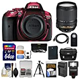 Nikon D5300 Digital SLR Camera Body (Red) with 18-140mm VR Zoom Lens + 64GB Card + Case + Flash + Battery & Charger + Tripod Kit