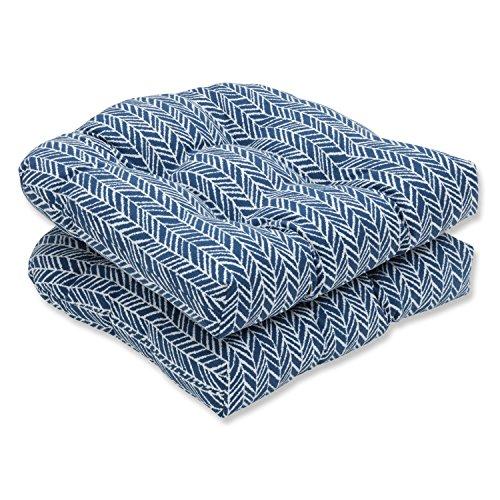 Pillow Perfect Outdoor | Indoor Herringbone Ink Blue Wicker Seat Cushion (Set of 2, 2 Piece