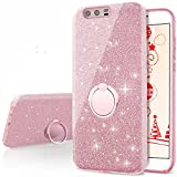 Cheap Huawei P10 Plus Case, Silverback Girls Bling Glitter Sparkle Cute Phone Case With 360 Rotating Ring Stand, Soft TPU Outer Cover + Hard PC Inner Shell Skin for Huawei P10 Plus -Rose Gold