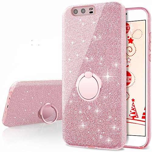 Huawei P10 Case, Silverback Girls Bling Glitter Sparkle Cute Phone Case With 360 Rotating Ring Stand, Soft TPU Outer Cover + Hard PC Inner Shell Skin ...