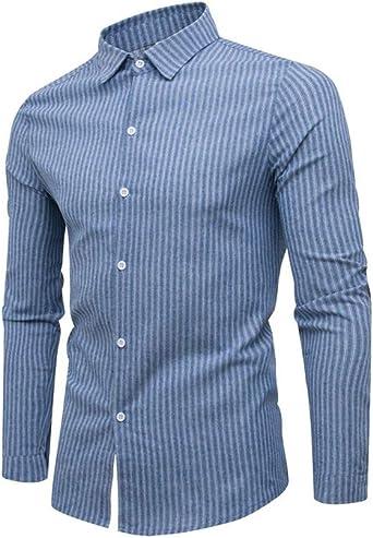 Camisa de Hombre Manga Larga Slim Fit Raya Sin Planchar Algodón Camisa Casual Negocio para Hombre: Amazon.es: Ropa y accesorios