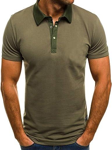 Camiseta para Hombre,Verano Polo Camiseta Deporte Manga Corta Color sólido Moda Diario Slim Fit Casuales T-Shirt Blusas Camisas algodón Suave básica ...