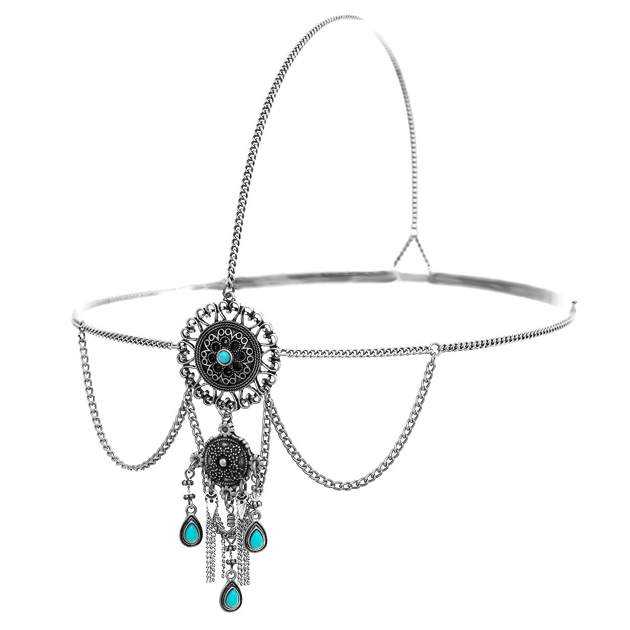 Rosemarie Collections Women's Boho Style Fringe Head Chain Headband (Silver Tone)