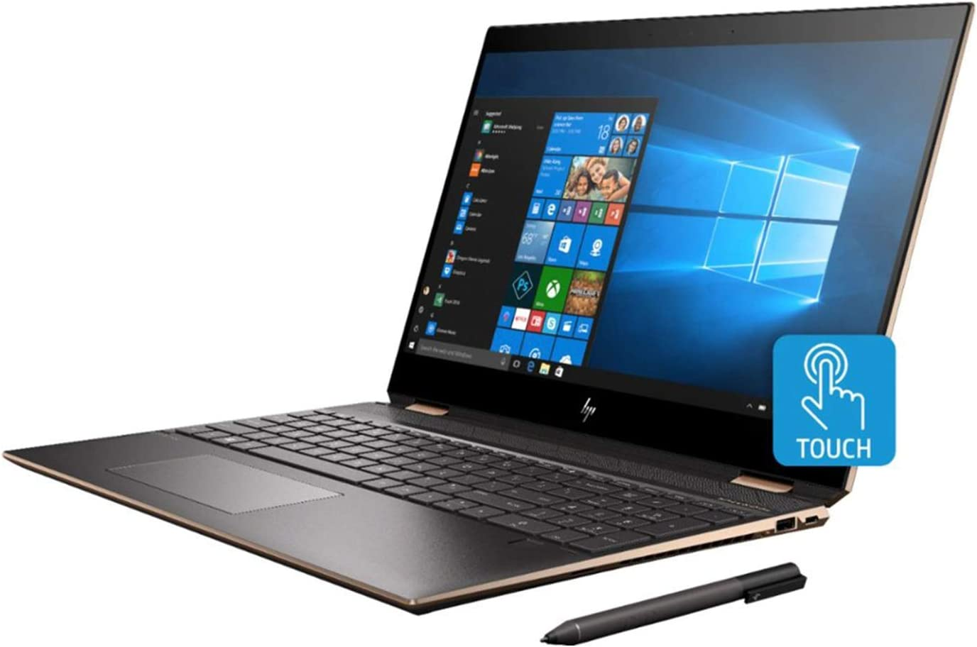 HP Spectre x360, 10th Gen Gemcut 15T,Touch 4K UHD,i7-10510U Quad Core,NVIDIA GeForce MX250 2GB,512GB NVMe SSD,16GB DDR4 2666 RAM,Win 10 Pro Pre-Installed by HP, 64GB Neopack Flash Drive, HP Prem Wty
