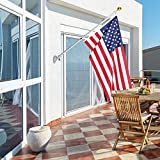 Frolic Raccoon 6 Ft Outdoor Flagpole Kit | American Flag 3x5 Nylon & Aluminum Wall Mount Anti-Wrap House Telescoping Flag Pole & Gold Ball | Residential and Commercial