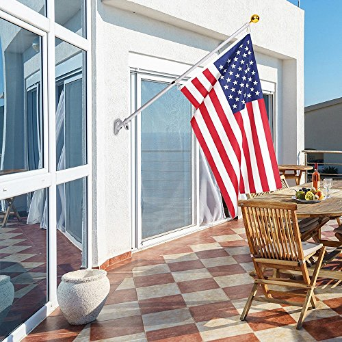 Frolic Raccoon 6 Ft Outdoor Flagpole Kit | American Flag 3x5 Nylon & Aluminum Wall Mount Anti-Wrap House Telescoping Flag Pole & Gold Ball | Residential and Commercial by Frolic Raccoon