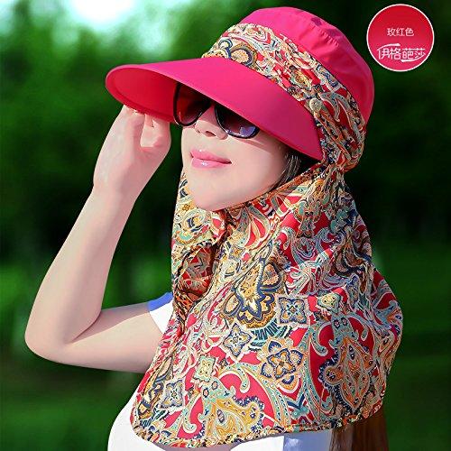 Cuello Femenina Roja Protegiendo A Protector Sol Verano f Todos De Evitar el Solar Mszyz Ultravioleta Hat Velo Lo Tapa Sol match El Largo Rosa Sombrero Cubierta naranja La Para Frente CqBwgXxAx