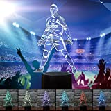World Cup 2018 Soccer 3D Night Light Table Desk Illusion Lamp 7 Colors Change Decor Atmosphere LED Lamps with USB Cable Smart Touch Button Control (football player)