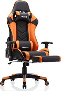 OHAHO Gaming Chair Racing Style Office Chair Adjustable Massage Lumbar Cushion Swivel Rocker Recliner Leather High Back Ergonomic Computer Desk Chair with Retractable Arms and Footrest (Black/Orange)