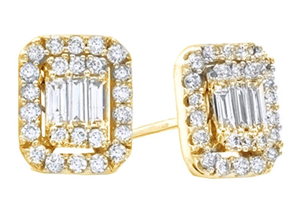 14 Karat (585) GelbGold Baguetteschliff & Rundschliff natürlicher Diamant Ohrstecker in 14 ct 585 Weiß Gold massiv (0,62 ct)