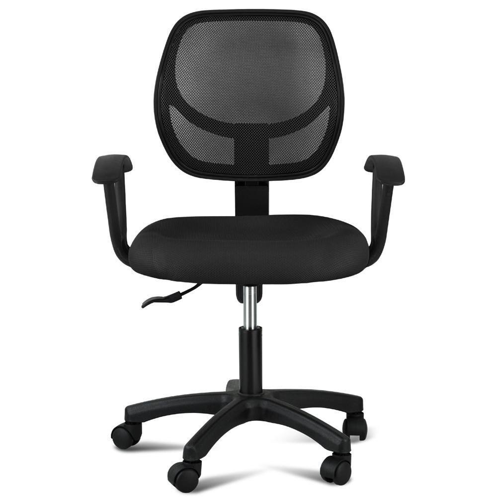 Yaheetech Adjustable Mid-back Swivel/tilt Chair with Arms (Black)