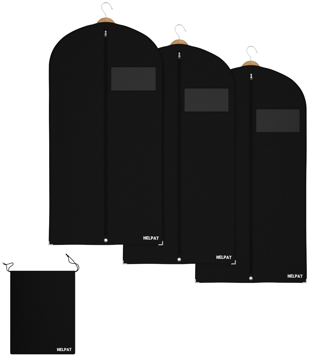 3x Premium Garment bags - incl. free shoe-bag - 100 x 60 cm – high quality suit-carrier / clothes-cover / breathable material suit-cover – first-class protection for your suits and clothes HELPAT
