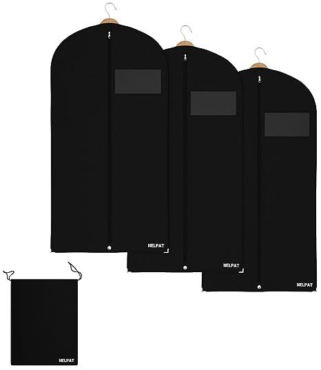 HELPAT 3X Kleidersack inkl. Schuhbeutel | 120 x 60 cm | schwarz | Hochwertiger Anzugsack | Atmungsaktive Kleiderhülle