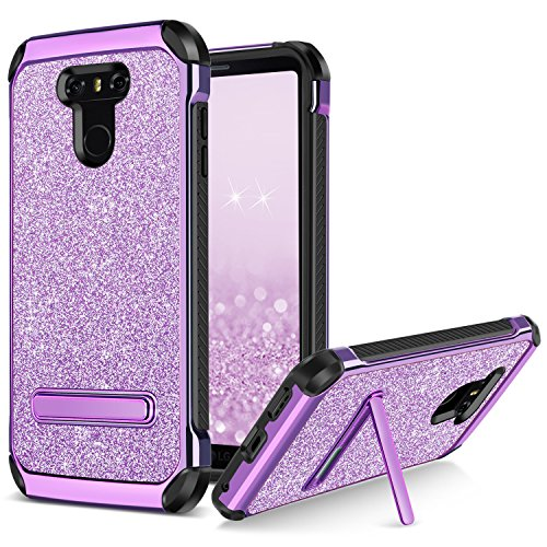 BENTOBEN Phone Case for LG G6, Slim 2 in 1 Hybrid Shockproof Cases Luxury Glitter Bling Hard Cell Phone Case Sparkly Shiny Faux Leather Phone Cases Cover with Kickstand for Girls, Women - Purple