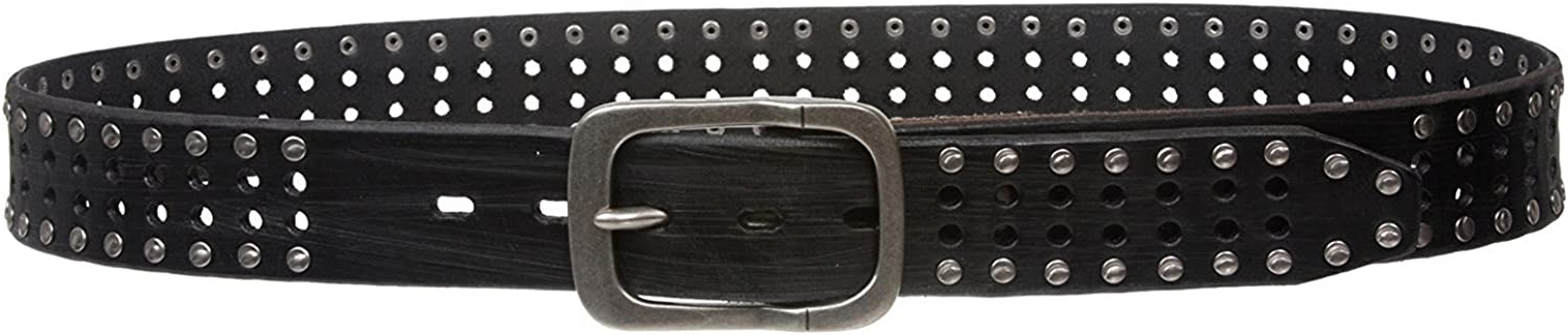 BBBelts Men 1-1//2 Black Oil-Tanned Cowhide 2 Hole Rows Studs Metal Buckle Belt