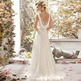 Chupeng Romantic Beach Wedding Dress A-Line Empire-Waist Maternity Gown Plus Size