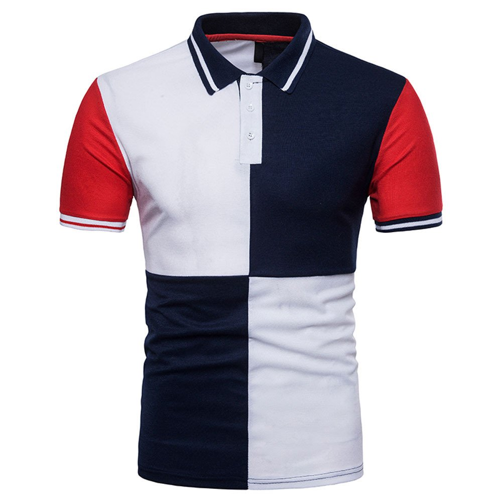 Fashion Personality Mens Casual Slim Patchwork Short Sleeve T Shirt Top Blouse