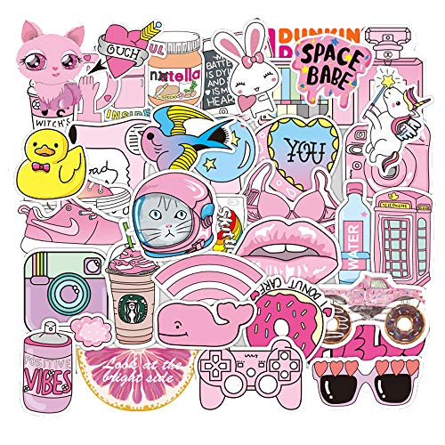 Cute Stickers for Water Bottle Girls, Pink Vinyl Decal CoolWaterproof Laptop Guitar Sticker Pack for Teens Adults Phone Case Suitcases Computer Skateboard Luggage50pcs]()