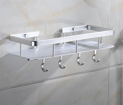 BIANJESUS Toallero Baño Cocina Estante Toalla Gancho Hotel Almacenamiento Rack Espacio Aluminio Mesa De Vestir Organizador