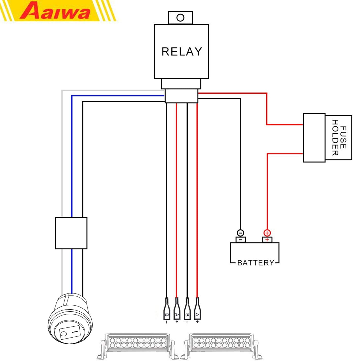 AAIWA Lumi/ère Dinondation 4 x 54W 7inch Barre Brouillard LED Rampe de Toit feu de recul Feux Diurne lumi/ère Remorque Camion Tracteur 4x4 Bateau 12V 24V