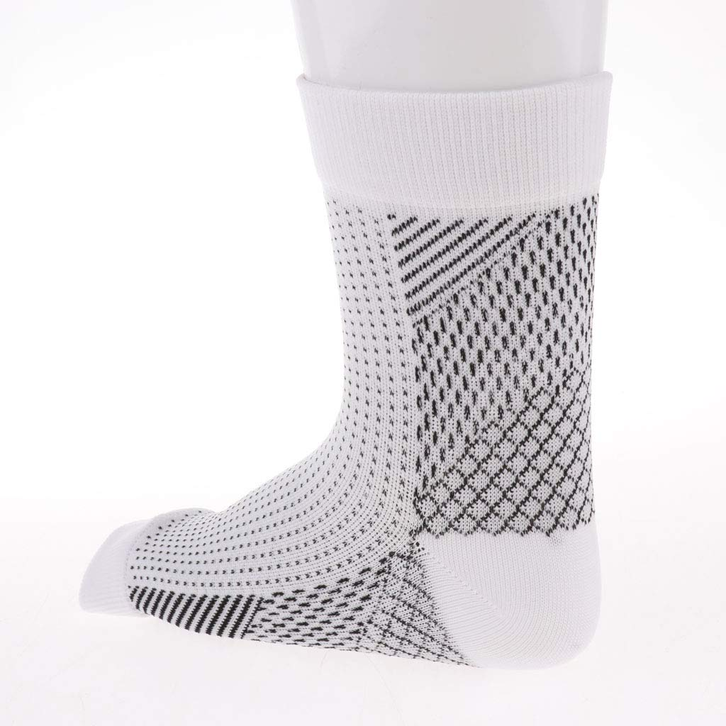 dailymall 2 Pair Plantar Fasciitis Socks Arch Support Compression Sleeves White+Black