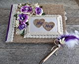 Purple rustique chic wedding guestbook with pen set, Burlap heart MR & MRS guestbook, Farmhouse guestbook pen set, Custom chic guestbook