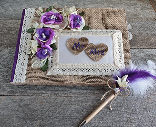 Purple rustique chic wedding guestbook with pen set, Burlap heart MR & MRS guestbook, Farmhouse guestbook pen set, Custom chic guestbook by Le Choix de la Mariée