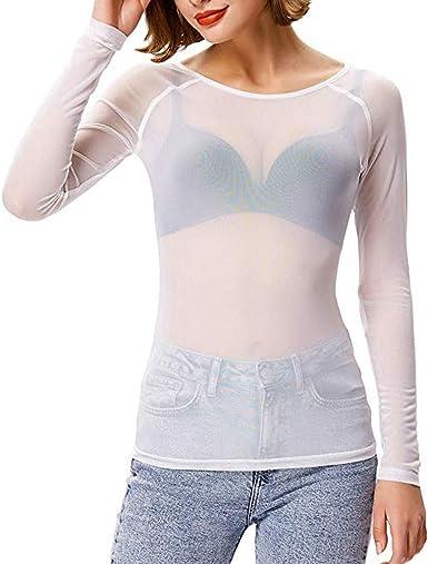 Moent Sales PlusMoent Sales Plus Mujer Blusa Transparente de Manga Larga con Forma de Brazo sin Mangas Top Camisa de Malla Blusa, Tops para Mujer Liquidación Talla Otoño Invierno Blusa, Tops: Amazon.es: