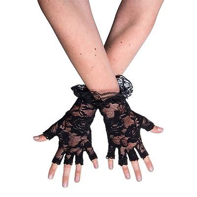 TaoNaisi Guantes de encaje sin dedos negros de Halloween: Ropa y accesorios