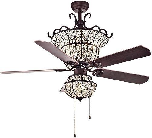 MINGSHOP 52-Inch Modern Tiffany Wood Blades Crystal Ceiling Fan Light