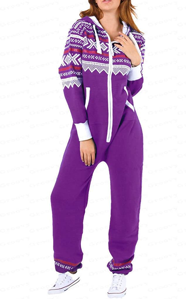 H/&F Girls Womens Adult Ladies New Aztec Printed Hooded Onesie Zip Up All in One Jumpsuit S-XL