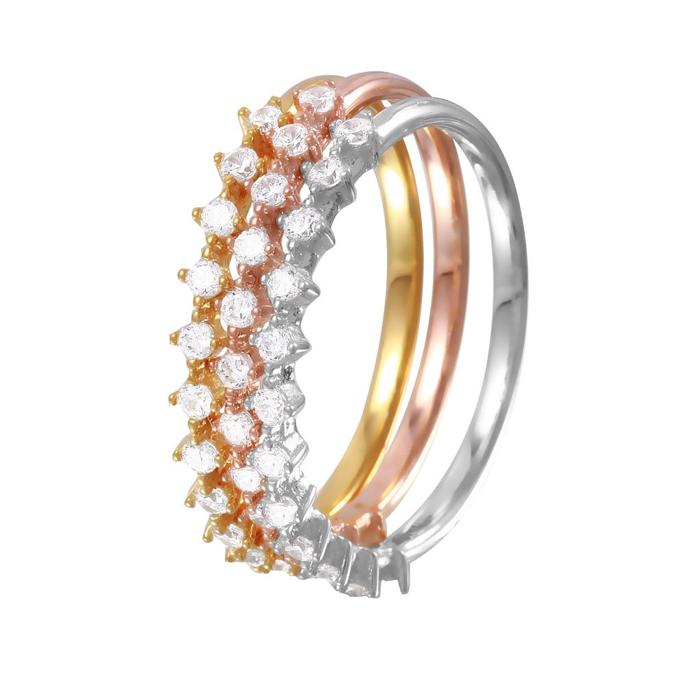 Clear Cubic Zirconia Three Stackable Bands Ring Tri-Color Plated Sterling Silver Size 8