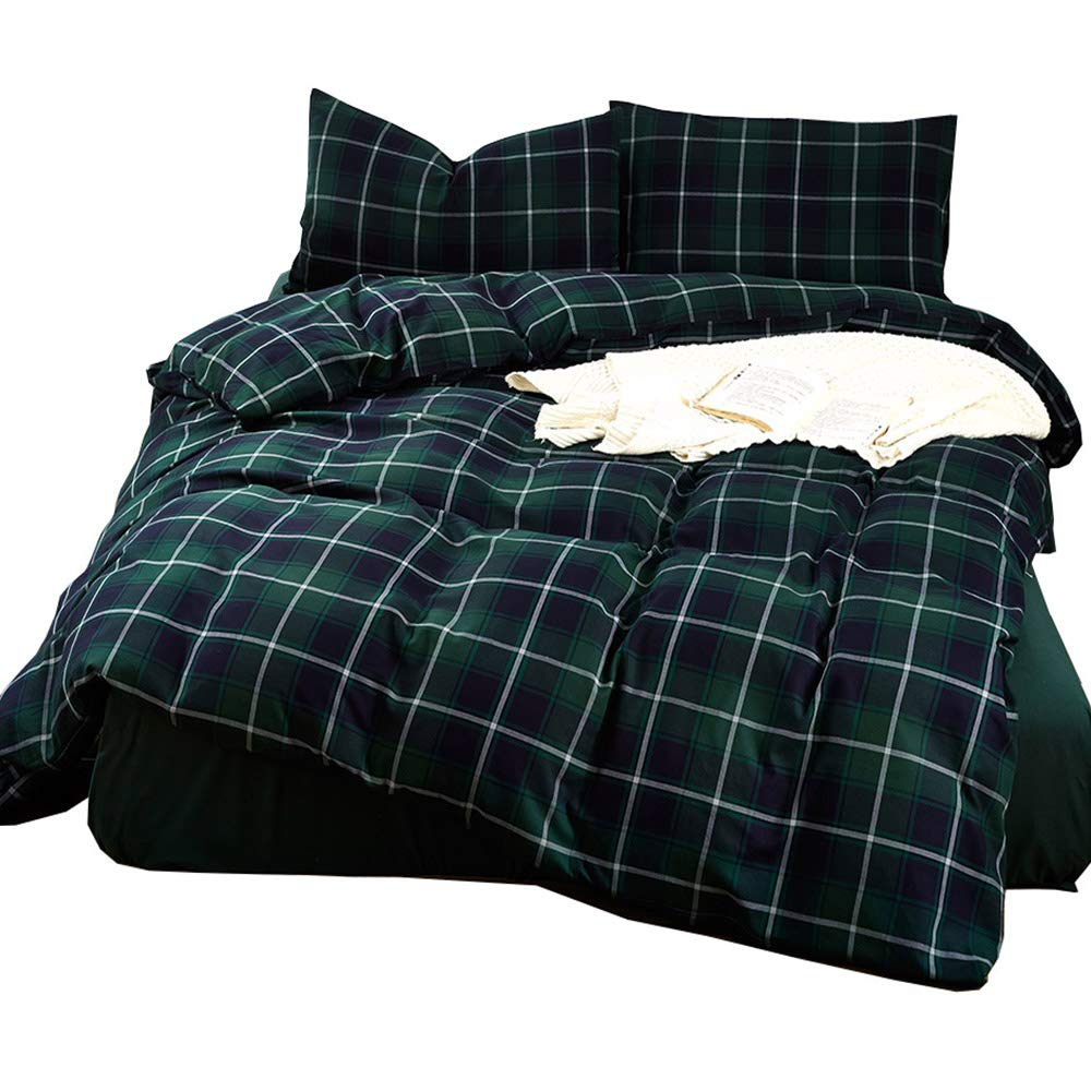Geometric Green Plaid Pattern Duvet Cover Set Queen Size Brushed Cotton Comforter Cover for Kids Boys Men Luxury 3 Piece Grid Pattern Bedding Sets Full Size Reversible with Hidden Zipper ,Corner Ties