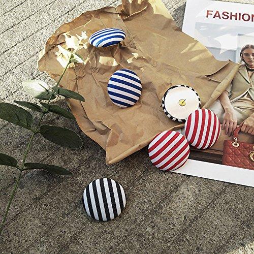 (Korean fashion cloth button-style earrings earrings ring exaggerated retro stripes plaid circle earrings temperament)