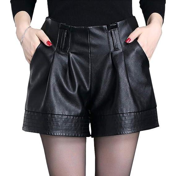 DISSA F6901 Shorts Pantalons Court Taille Haute Grande Taille Cuir PU Femme, Noir,M 5d623d2fe73e