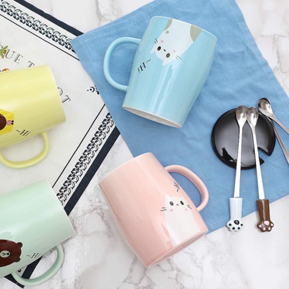 Taza Linda del Gato Taza de caf/é de cer/ámica con Cuchara de Acero Inoxidable para Gatitos Azul Hola ~ Taza de caf/é de la Novedad Regalo para los Amantes del Gato Rosado