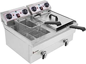 Dual Tanks Electric Deep Fryer Professional Tabletop Restaurant Kitchen Frying Machine with 2 Basket 3400W (1700W for Each Head)
