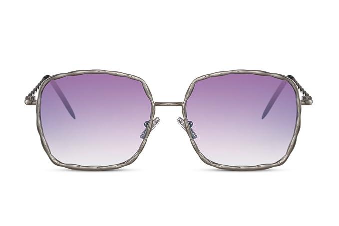 5db743eb10578f Cheapass Sonnenbrille Groß-e Rund-e Designer-Brille Silber Violett Lila XXL  Blumen