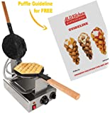 Puffle Waffle Maker Professional Rotated Nonstick (Grill / Oven for Cooking Puff, Hong Kong Style, Egg, QQ, Muffin, Cake Eggettes and Belgian Bubble Waffles) (110V, Puffle maker FY-6R / NP-527)