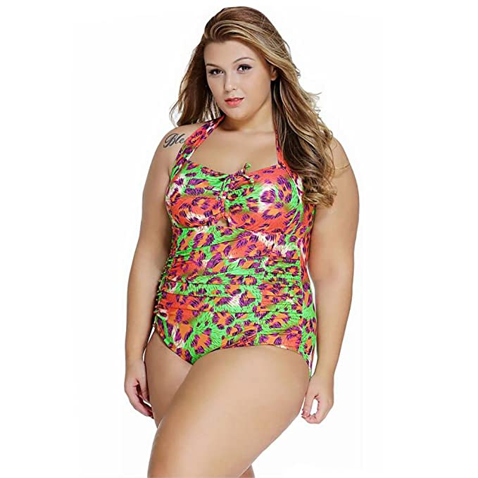 Bikini De Las Mujeres Halter Neck Más El Tamaño De Una Pieza Del Traje De Baño Floral Beachwear L-4XL,C,L: Amazon.es: Deportes y aire libre
