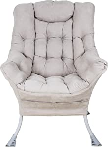 Superrella Modern Soft Accent Chair Living Room Upholstered Single Armchair High Back Lazy Sofa (Golden Grey)