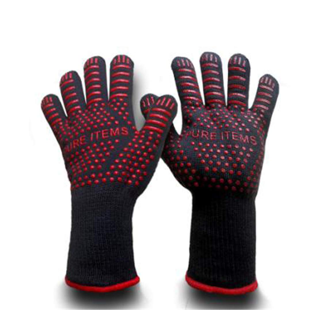 ProtectionShTa Heat Resistant Oven Grill Gloves ty Mitts Camping Kitchen Black Aramid Glove Anti-Slip Silicone Polyester Lining 1 Pair red