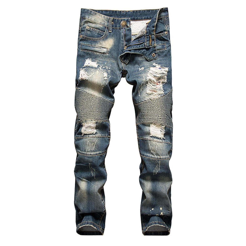 52831242 outlet DeLamode Men Break Hole Jeans Vintage Old Retro Frazzle Denim CowBoy  Pants