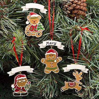 Gingerbread Themed Holiday Ornaments SET OF 4 (Personalizable Ornament)